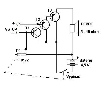 Jednoduchý tranzistorový zesilovač