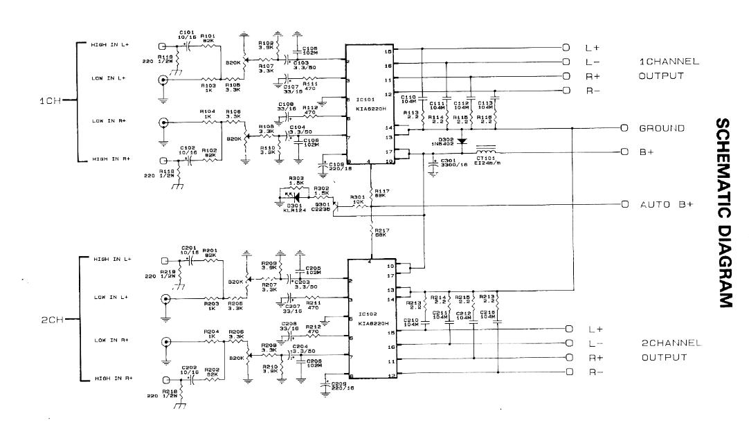 12V 300W 4 channel car amplifier schematic diagram