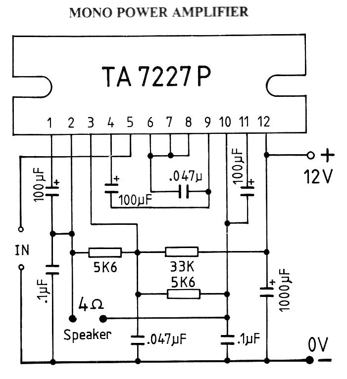 circuits  15w mono car amplifier using ta7227p