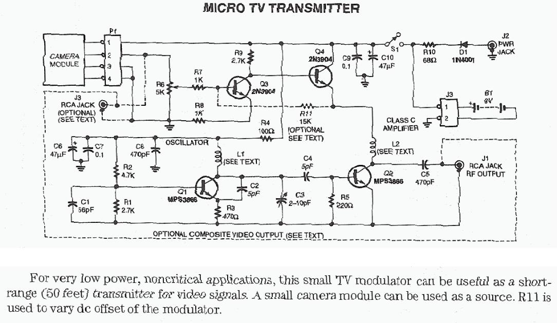 Video Related Circuit Schematics    Circuit Diagrams Including Video Transmitter Circuits