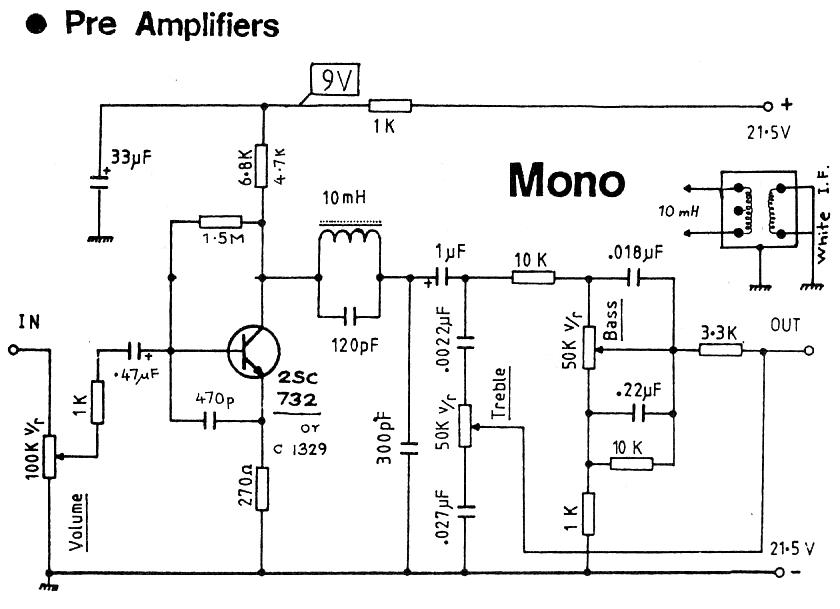 MONO 1 TRANSISTOR PRE AMPLIFIER audio preamp circuit diagrams circuit schematics preamp wiring diagram at bayanpartner.co