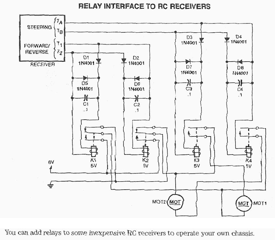 models, remote control toys, robotics related electronic circuitrelay interface to r c receivers