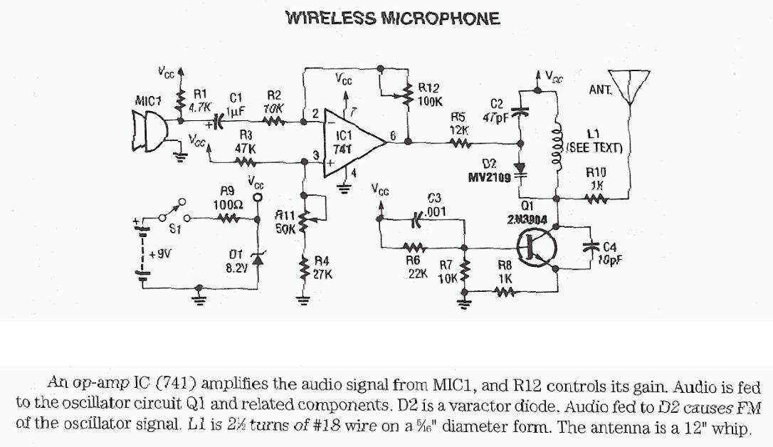 transmitter circuit schematics includding bugging device circuits wireless microphone using 741 opamp and 2n3904